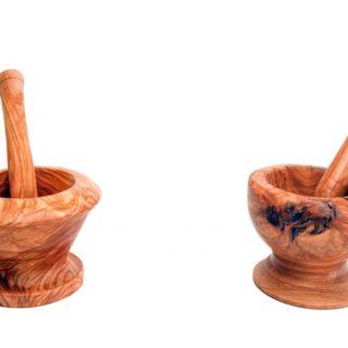 Mortaio in legno d'ulivo